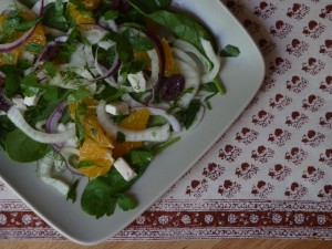 Fennel and Spinach Salad with Orange and Olives