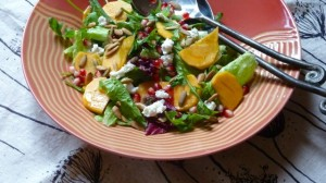 Persimmon Salad with Arugula, Pomegranate and Pumpkin Seeds