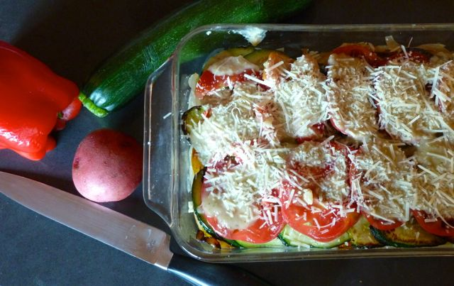 Vegetable Strata Ready for Cooking