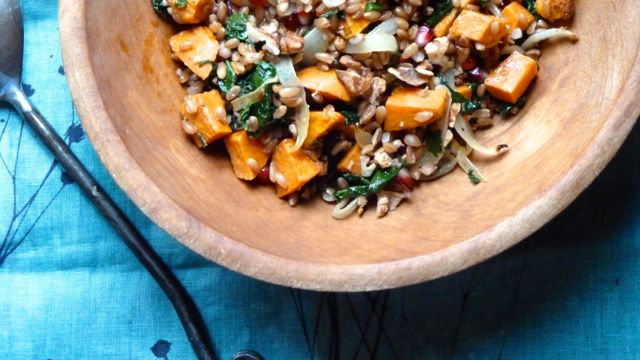 Farro with Roasted Sweet Potatoes, Kale and Pomegranate Seeds