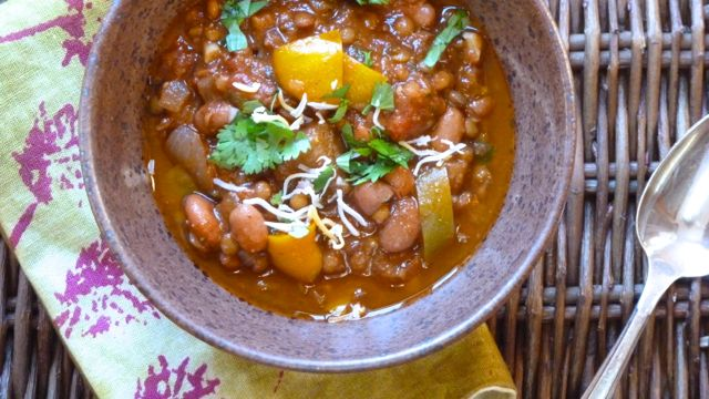 Lentil and Pinto Bean Chili