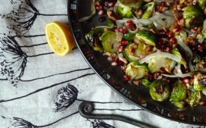 Roasted Brussel Sprouts with Walnuts, Pomegranate and Meyer Lemon
