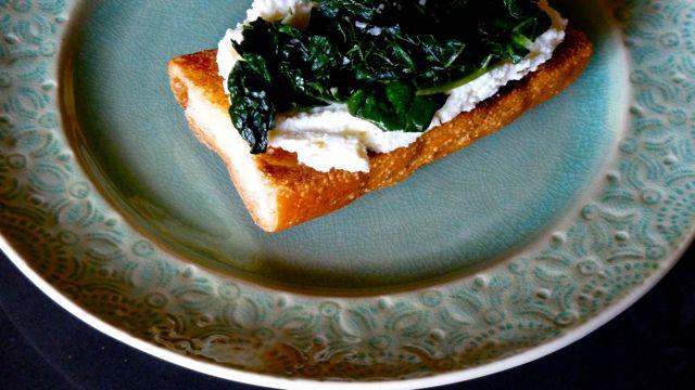 Kale and Lemon Ricotta Tartine