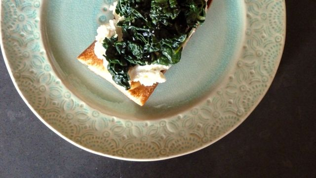 Kale and Ricotta Tartine