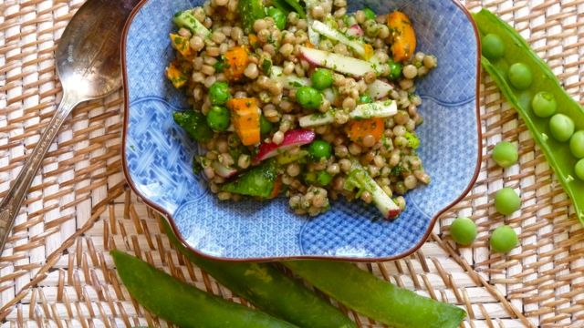 Couscous Salad with Spring Peas and Cilantro Pesto