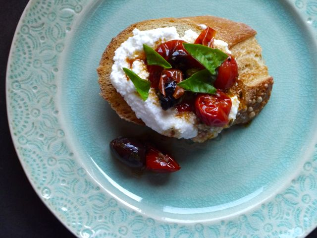 Roasted Pepper and Tomato Crostini with Ricotta