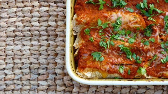Sweet potato and Kale Enchiladas