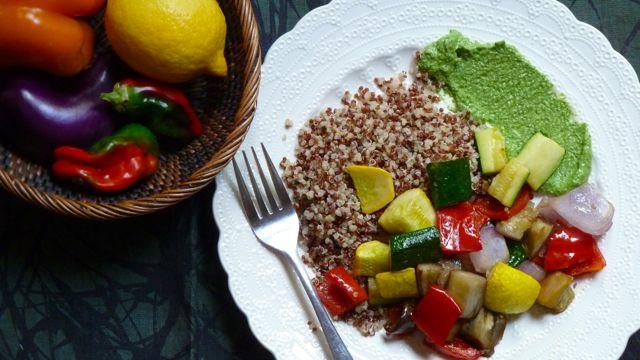 Roasted Seasonal Vegetables with Pesto